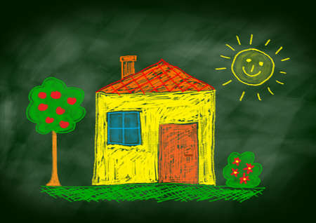 Drawing of yellow house Stock Photo - 12220023