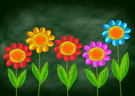green board: Colorful flowers