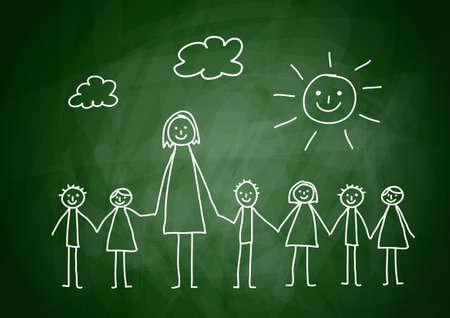 school teacher: Teacher with children