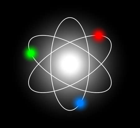 atomic symbol: Atom on black background      Illustration