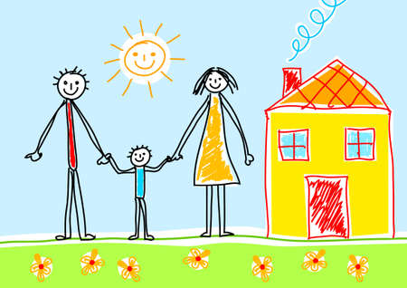 happy family house: Drawing of family