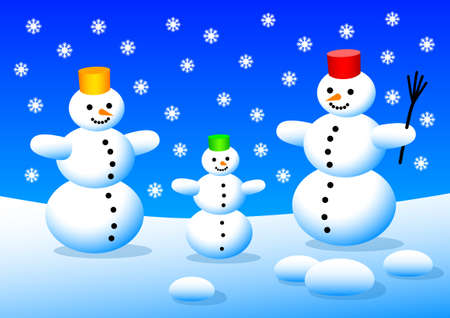 Three snowmen Stock Vector - 12220035