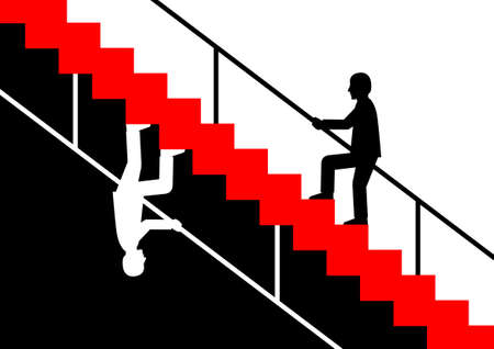 Silhouette of man on staircase      Vector