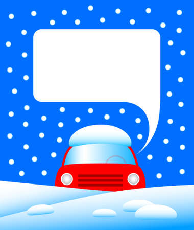Red car in snow Stock Vector - 12220124