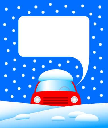 snow drift: Red car in snow