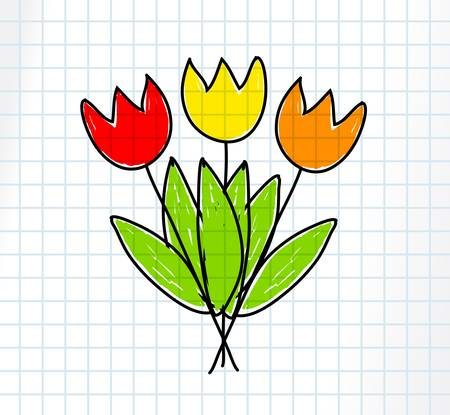 Drawing of tulips      Vector