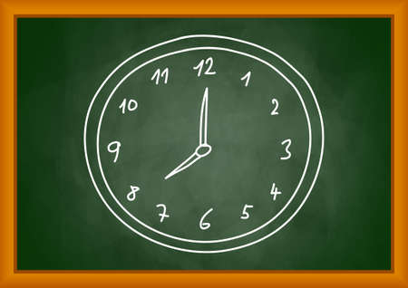 Drawing of clock on blackboard Vector