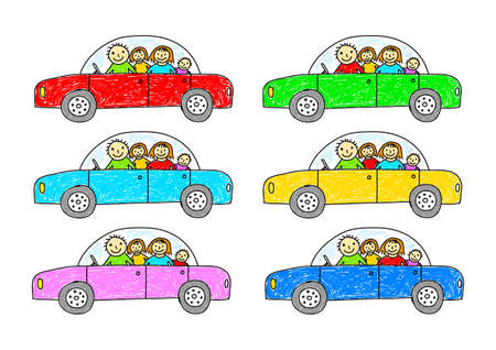family trip: Collection of colorful cars