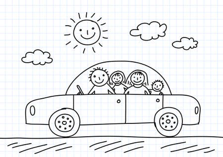 Drawing of car  Иллюстрация