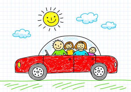 niños dibujando: Dibujo de coche Vectores
