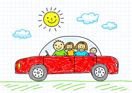 family car: Drawing of car  Illustration