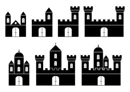 castello fiabesco: Sagome nere di castelli Vettoriali