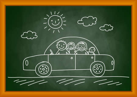 baby on board: Drawing of car Illustration