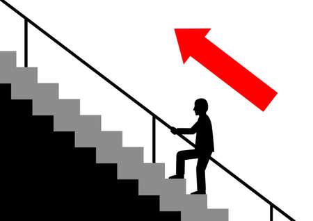 stair: Silueta del hombre en la escalera Vectores
