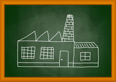 Drawing of factory on blackboard Stock Vector - 12220340