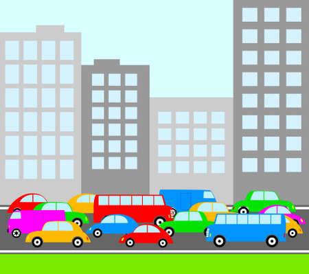 Traffic in city Vector
