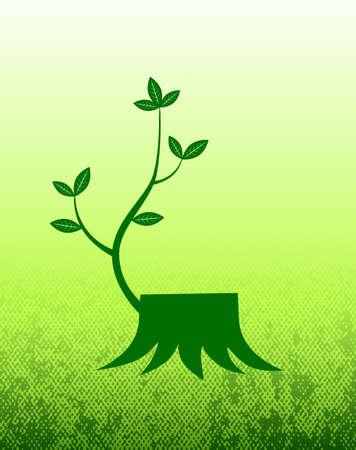Stump on green background