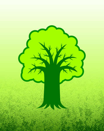 Tree on green background      Stock Vector - 12220387