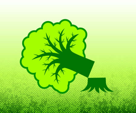 Tree on green background      Stock Vector - 12220402