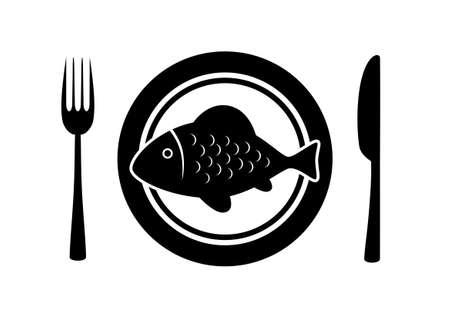 gourmet dinner: Fish on porcelain plate