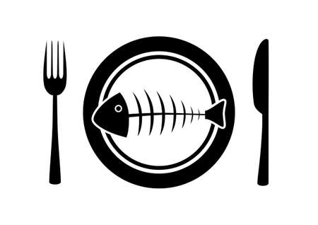 Fish on porcelain plate Stock Vector - 12220377