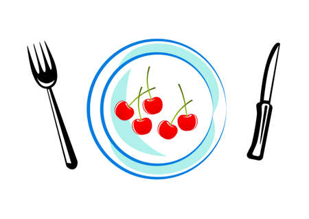 Blue plate with cherries Stock Vector - 12220438