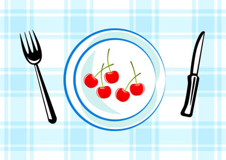 Blue plate with cherries Stock Vector - 12220442