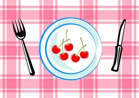 Blue plate with cherries Stock Vector - 12220441