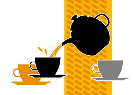 Teapot with cups         Vector