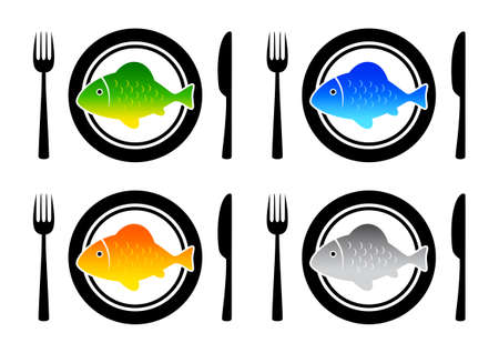 Collection of fish on plates Stock Vector - 12494695