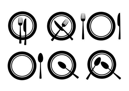 gourmet dinner: Collection of plates