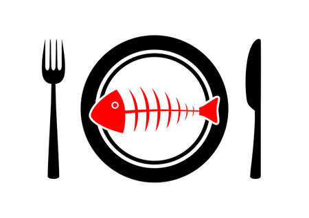 Fish on plate Stock Vector - 12494689