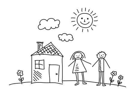 niños dibujando: Dibujo de la casa y los niños Vectores