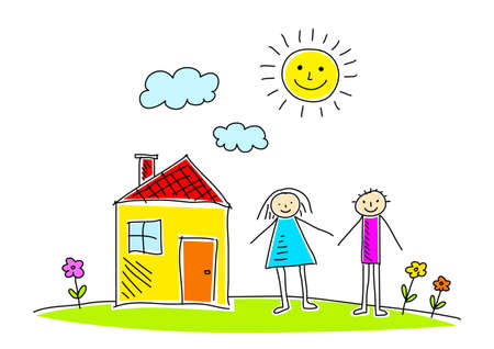 Drawing of house and children Stock Vector - 12494902