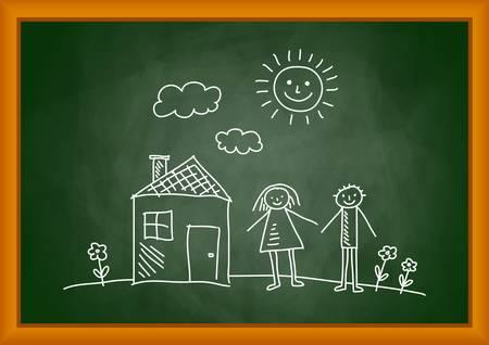 Dibujo de la casa y los ni�os en el pizarr�n