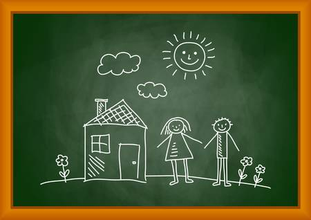 mother board: Drawing of house and children on blackboard