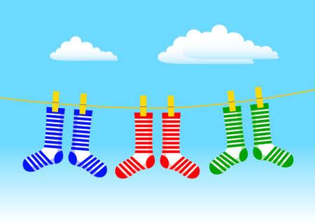 clothes peg: Socks on blue sky Illustration
