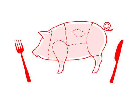 viande couteau: Cochon sur fond blanc