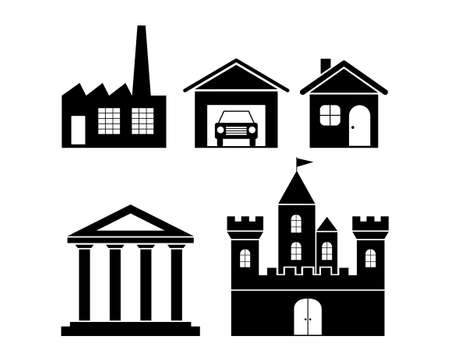 Black building icons Vector