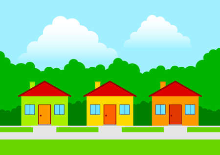Three colorful houses Stock Vector - 12495150