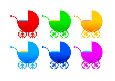 Collection of strollers Vector