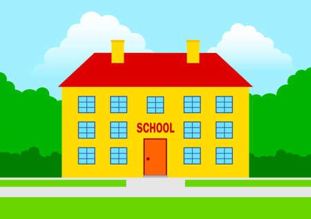 the school building: Orange escuela Vectores