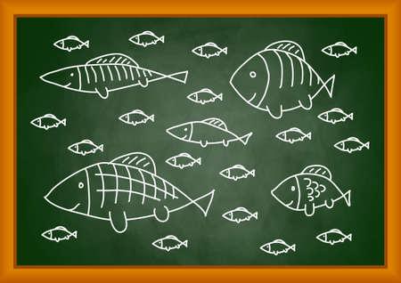 Drawing of fish on blackboard Vector