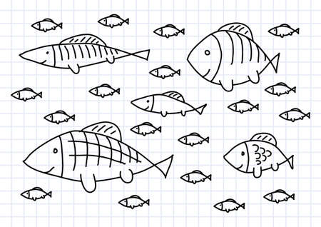 group of fish: Drawing of fish on squared paper Illustration