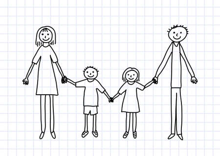 Drawing of family on squared paper Stock Vector - 12495921