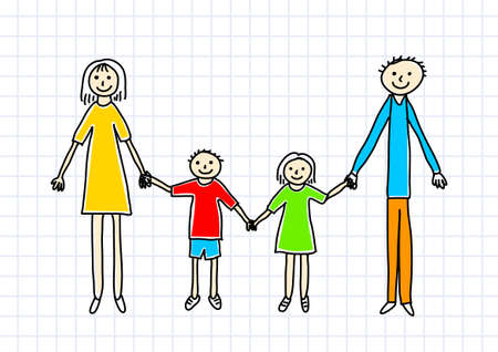 Drawing of family on squared paper Vector
