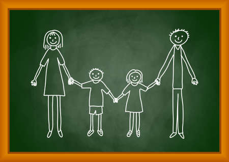 Drawing of family on blackboard Vector