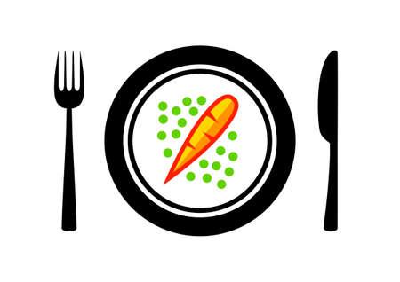 porcelain plate: Carrot on porcelain plate Illustration