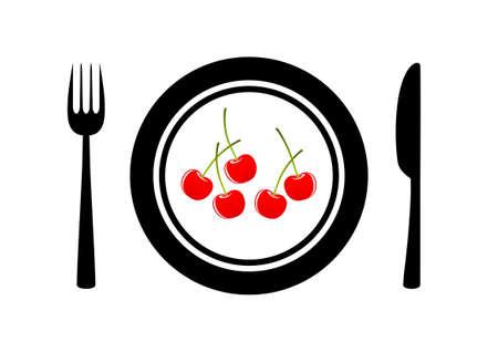 Cherries on porcelain plate Stock Vector - 12496261