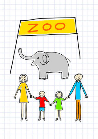 Family in zoo Stock Vector - 12496626